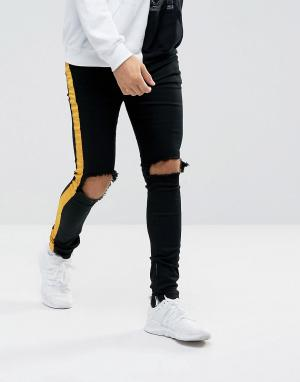 Sixth June Черные рваные супероблегающие джинсы с желтыми полосками. Цвет: черный