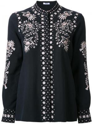 Рубашка на пуговицах с вышивкой Vilshenko. Цвет: чёрный