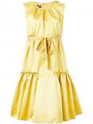 Расклешенное платье с завязками  на бант Rochas. Цвет: жёлтый и оранжевый