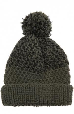 Шерстная шапка с декоративной отделкой 7II. Цвет: хаки
