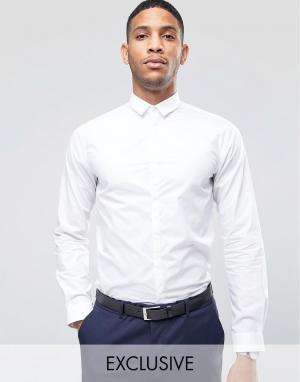Noak Рубашка скинни с маленьким воротником. Цвет: белый