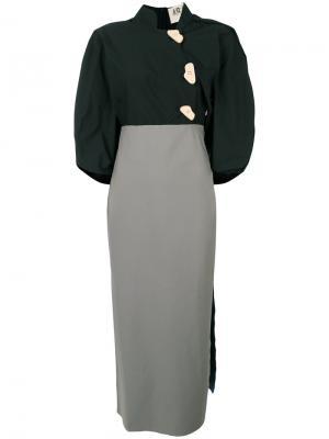 Платье миди с объемными рукавами A.W.A.K.E.. Цвет: чёрный