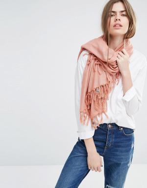 Becksondergaard Oversize-шарф с кисточками. Цвет: оранжевый