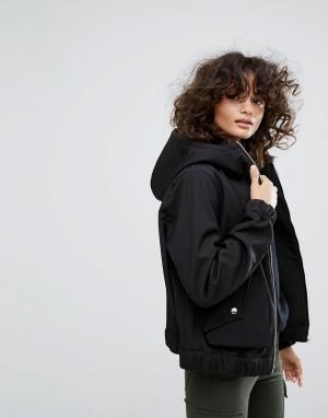Dr Denim Куртка на молнии с капюшоном и большими карманами. Цвет: черный