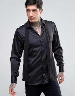 Rogues of London Зауженная рубашка со съемным галстуком-шарфом. Цвет: черный