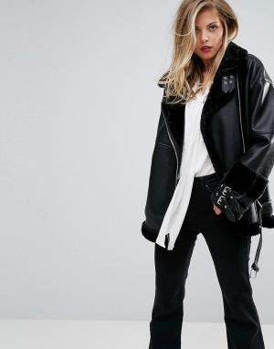 Supertrash Удлиненная байкерская куртка из искусственной кожи Oling. Цвет: черный