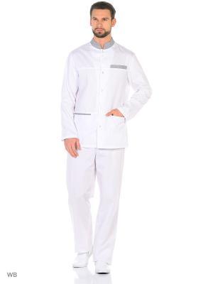 Рубашка Рабочая марка. Цвет: белый, серый
