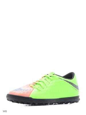 Бутсы HYPERVENOMX PHADE III TF Nike. Цвет: зеленый