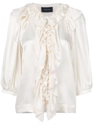 Блузка на пуговицах с оборкой Simone Rocha. Цвет: телесный