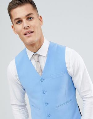 ASOS Голубой облегающий жилет DESIGN. Цвет: синий