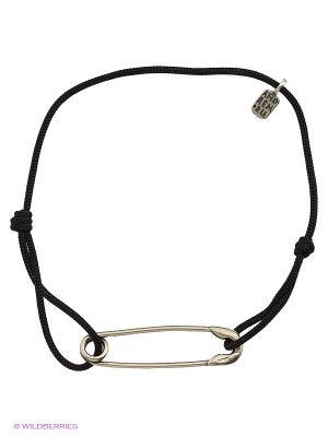 Булавка - браслет на черной нити Amorem. Цвет: серебристый, черный