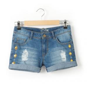 Шорты джинсовые с потёртым эффектом на 10-16 лет R teens. Цвет: синий потертый