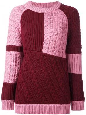 Лоскутный вязаный джемпер House Of Holland. Цвет: розовый и фиолетовый