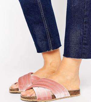 New Look Wide Fit Бархатные сабо для широкой стопы. Цвет: розовый