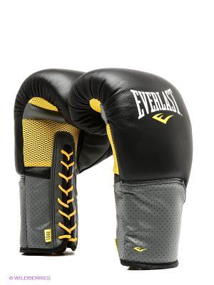 Перчатки тренировочные на шнуровке Pro Leather Laced 10oz черн. Everlast. Цвет: черный, серый