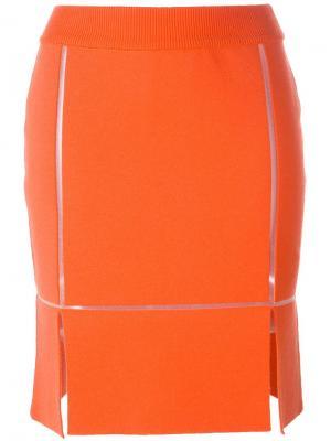 Прямая юбка с разрезами Courrèges. Цвет: красный