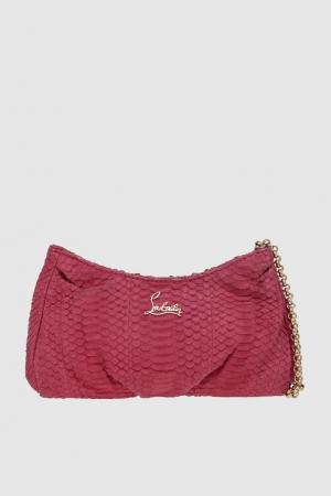 Сумка из кожи змеи Bikini Pouch Pink Clutch Christian Louboutin. Цвет: розовый