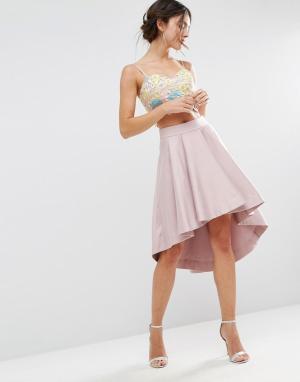 ASOS Асимметричная структурированная юбка для выпускного Premium. Цвет: розовый