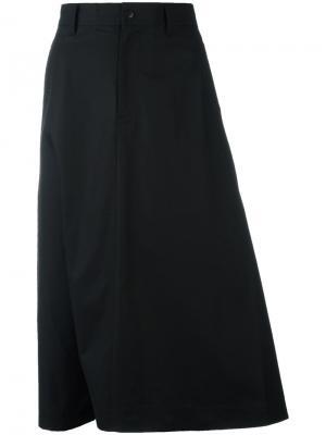 Юбка А-образного силуэта длины миди Y-3. Цвет: чёрный