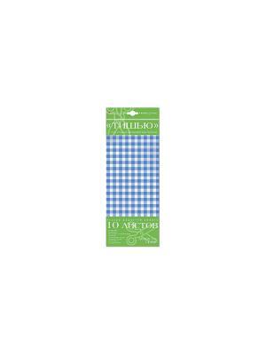 Бумага с орнаментом тишью, 10 листов, клетка голубая Альт. Цвет: голубой
