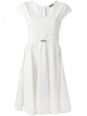 Платье с поясом Fay. Цвет: белый