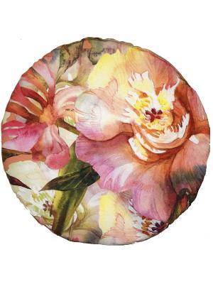 Сидушка на табурет D32, принт Пионы Dorothy's Нome. Цвет: розовый, персиковый, зеленый
