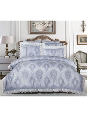 Постельное белье люкс-сатин евро Asabella. Цвет: серо-голубой