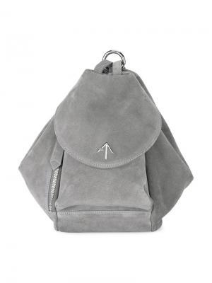 Замшевый мини-рюкзак Manu Atelier. Цвет: серый