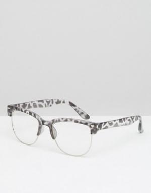7X Очки с леопардовой оправой и прозрачными стеклами. Цвет: серый