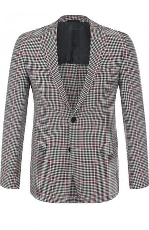 Однобортный шерстяной пиджак BOSS. Цвет: черно-белый