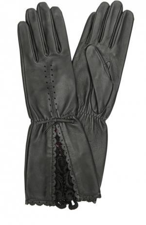 Кожаные перчатки с кружевной отделкой Agnelle. Цвет: черный