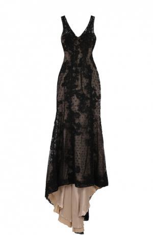 Приталенное кружевное платье в пол с подолом Basix Black Label. Цвет: черный