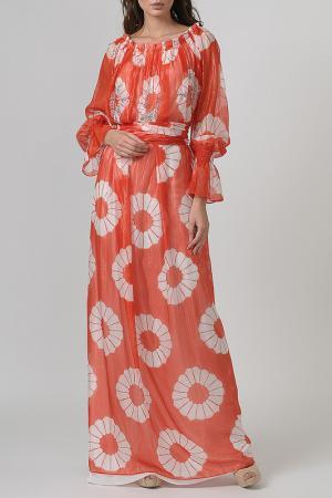 Длинное шифоновое платье с принтом Blumarine. Цвет: коралловый