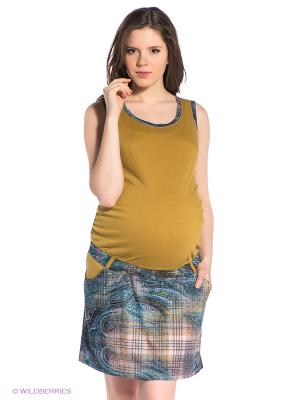 Сарафан для беременных ФЭСТ. Цвет: горчичный, голубой