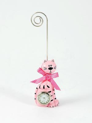 Часы настольные Котик с подставкой для визиток Русские подарки. Цвет: розовый