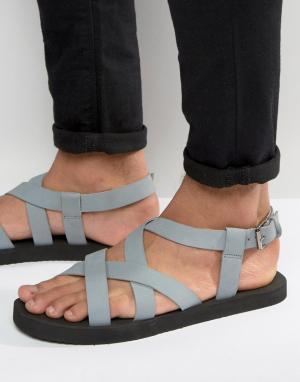 ASOS Серые нубуковые сандалии с перекрестными ремешками. Цвет: серый