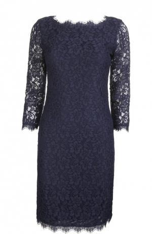 Кружевное платье-футляр Diane Von Furstenberg. Цвет: темно-синий