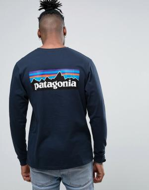 Patagonia Темно-синий лонгслив классического кроя с логотипом на спине. Цвет: темно-синий