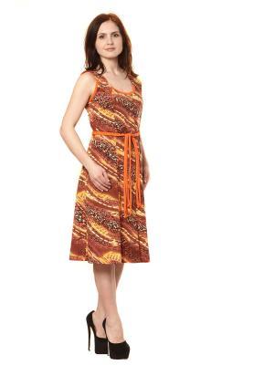 Трикотажный халат Тефия. Цвет: терракотовый, оранжевый, желтый