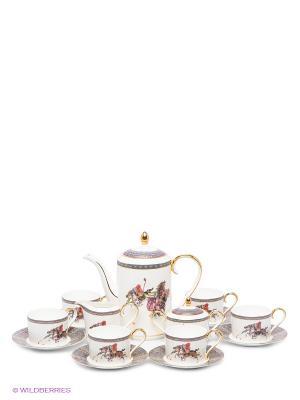 Чайный сервиз Восточное Поло (Pavone) Pavone. Цвет: белый, темно-синий