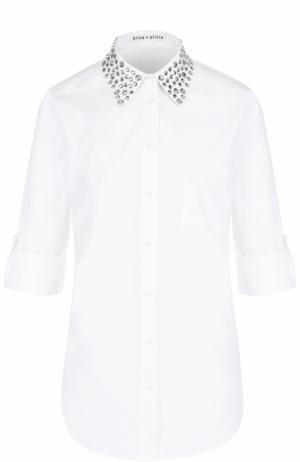 Блуза с укороченными рукавами и декорированным воротником Alice + Olivia. Цвет: белый