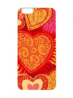 Чехол для iPhone 6 Рыжие сердца Chocopony. Цвет: светло-коричневый, красный, светло-оранжевый