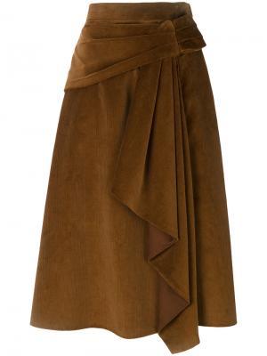 Вельветовая юбка с драпировкой Prada. Цвет: коричневый