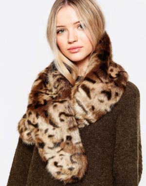 Pia Rossini Широкий шарф из искусственного меха. Цвет: коричневый