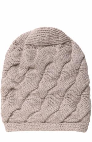 Кашемировая шапка фактурной вязки с помпоном из меха песца TSUM Collection. Цвет: темно-бежевый