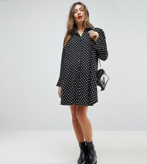 ASOS Maternity Платье-рубашка в горошек с длинными рукавами. Цвет: мульти