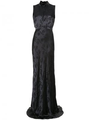 Вечернее платье с цветочным узором Saloni. Цвет: чёрный