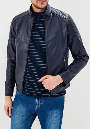Куртка кожаная Justboy. Цвет: синий
