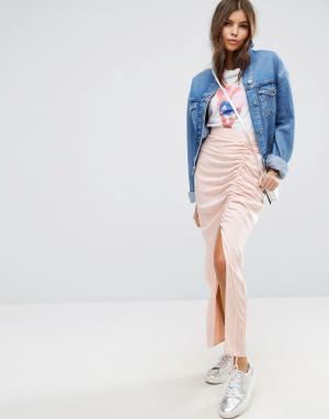 ASOS Саржевая юбка макси с разрезом до бедра. Цвет: бежевый