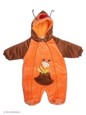 Велюровый комбинезон на синтепоне Kidly. Цвет: оранжевый